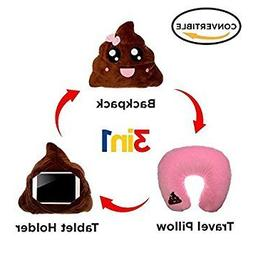 3 in 1 Pink Poop Emoji Pillow iPad Holder Backpack Travel Ne