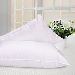 1Pair 35%White Goose Down and Fiber Luxury Pillow Orthopedic