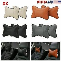 2pcs Car Seat Head Neck Rest Leather Support Cushion Pad Hea