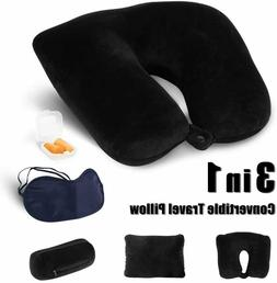 3 in 1 Neck Convertible Travel Pillow Head Support with Eye