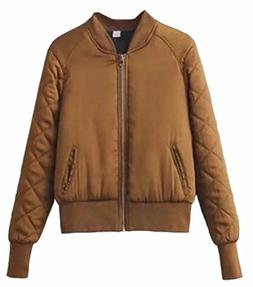 Generic Womens Classic Quilted Thicken Bomber Scoop Neck Bas