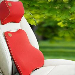 MQYH Memory Foam Car Lumbar Cushion and Car Neck Pillow Kit