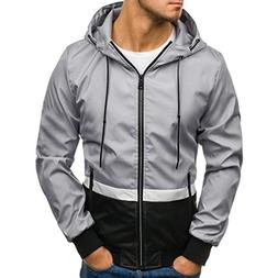 Mikkar Mens Hoodies Jacket Coat Winter Zip Casual Long Sleev