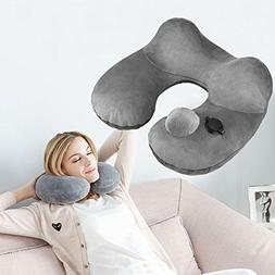 KZKR AE SHOP Soft Velvet Neck Pillow Inflatable Travel Pillo