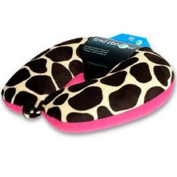 World's Best Air Soft Microbead Neck Pillow, Pink Giraffe