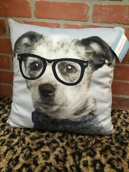 RACHEL HALE ANIMALS JAKE SQUARE THROW PILLOW DOG with Glasse