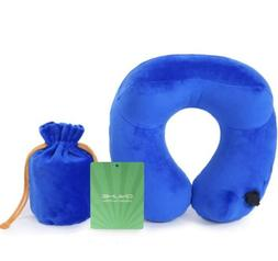 automatic inflatable travel neck pillow blue skin