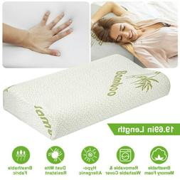 Bamboo Memory Foam Orthopedic Pillow Soft Bed Contoured Cerv