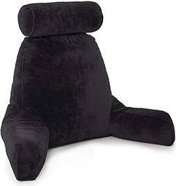 Black Big Backrest Reading Bed Rest Pillow with Arms Plush M