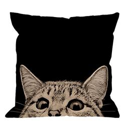 HGOD DESIGNS Black Cat Pillows Decorative Cute Cat Watching