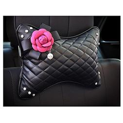 LuckySHD Car Leather Headrest Pillow Neck Pillow for Head Su