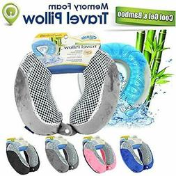 Cool Gel Memory Foam Travel Neck Pillow - Grey Home &amp Kit