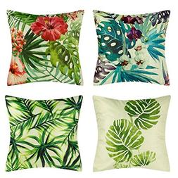 Decorative Throw Pillow Covers 18x18 Inch Square Cotton Line