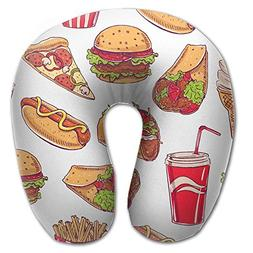 Hot Dog Hamburger Pizza Pattern Comfortable U Type Pillow Ne