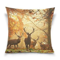 Double Sided Autumn Forest Fall Wildlife Deers Cotton Velvet