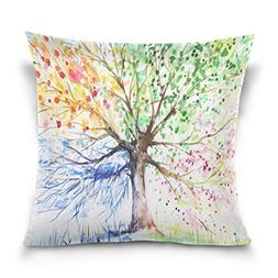 ALAZA Double Sided Colorful Tree of Life Cotton Velvet Squar