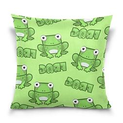 Double Sided Cute Green Frog Cotton Velvet Square Cover Cush