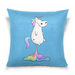 ALAZA Double Sided Funny Colorful Unicorn Rainbows Fly Cotto