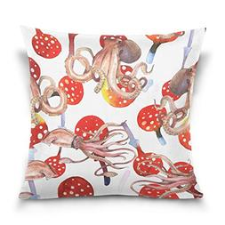 ALAZA Double Sided Funny Octopus Cotton Velvet Square Cover