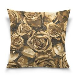 ALAZA Double Sided Gold Rose Cotton Velvet Square Cover Cush