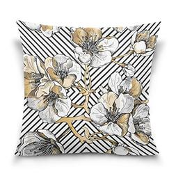 ALAZA Double Sided Gold and White Flower and Stripe Cotton V