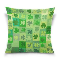 ALAZA Double Sided Grid Green Shamrock Stripes Clover Cotton