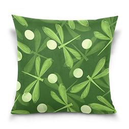 ALAZA Double Sided Hand Drawn Cute Green Dragonfly Cotton Ve