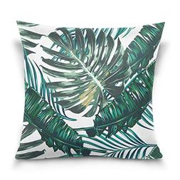 ALAZA Double Sided Hand Drawn Palm Leaves Watercolor Tree Le