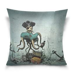 Double Sided Ocean Pirates Octopus and Anchor Cotton Velvet