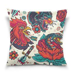 ALAZA Double Sided Rooster and Snake Head with Rose Cotton V