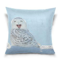 ALAZA Double Sided Winter Snow White Owl Funny Face Cotton V