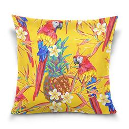 ALAZA Double Sided Yellow Tropical Summer Colorful Parrot an