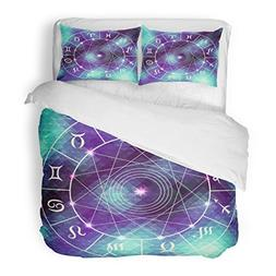 SanChic Duvet Cover Set Aries Magic Circle with Zodiacs Sign