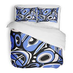 SanChic Duvet Cover Set Canadian Abstract Blue Native North