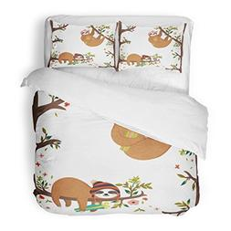 SanChic Duvet Cover Set Cute Baby Sloths Funny Hanging on th