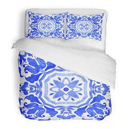 SanChic Duvet Cover Set Portuguese Azulejo Tiles Blue and Wh