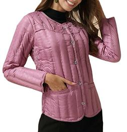 Generic Womens Solid Round Neck Long Sleeve Slim Quilted Dow