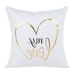 MOKO-PP Gold Foil Printing Pillow Case Sofa Waist Throw Cush