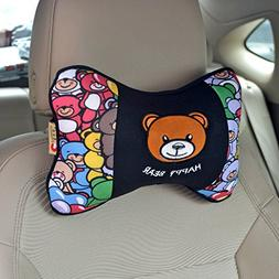 Tianmei 2PCS Happy Bear Cartoon Styling Car Headrest Protect