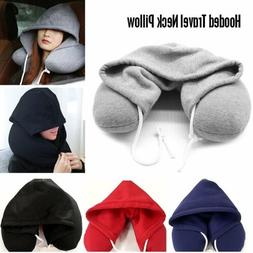 Hooded Microbead Neck U Pillow Cushion Airplane Travel Offic