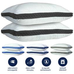 Bed Pillows Set of 2 Gusseted Neck Support Soft Pillow For S