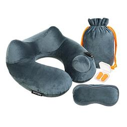 VEEYOO Inflatable Neck Pillow with Ear Plugs, Eye Mask and D