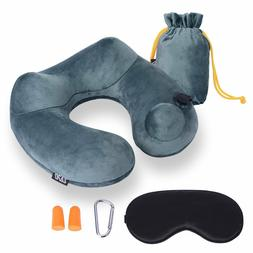 Inflatable Neck Travel Pillow - Luxuriously Soft Washable Co
