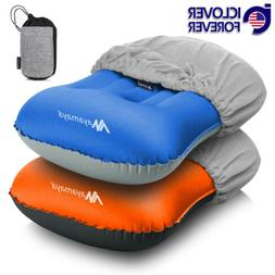 Inflatable Travel Air Neck Pillow Camping Sleeping Gear Back