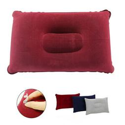 Inflatable Travel Pillow Neck Support Flocked Fabric Blow-Up