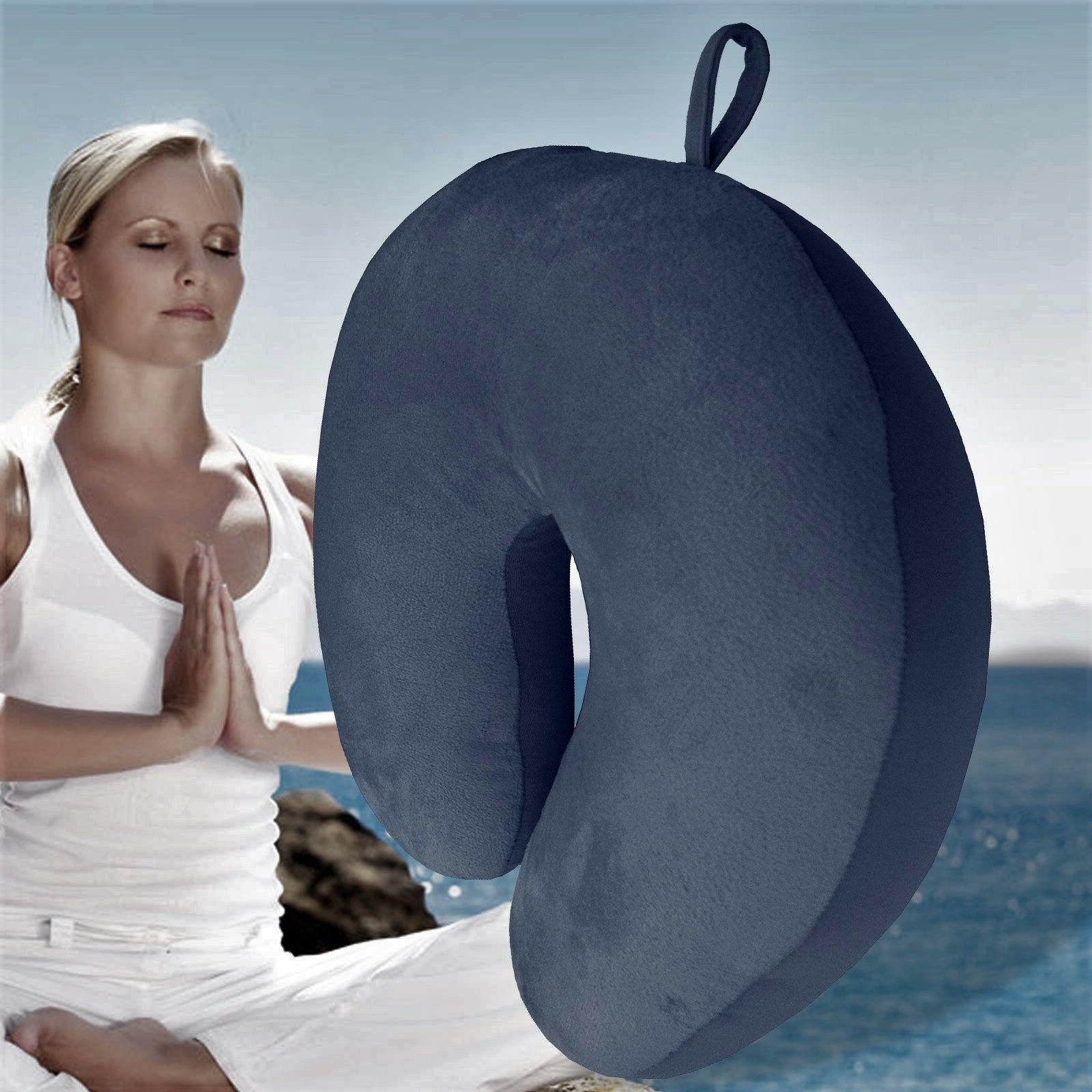 Navy Blue U Shaped Travel Pillow Neck Support Head Rest Airp