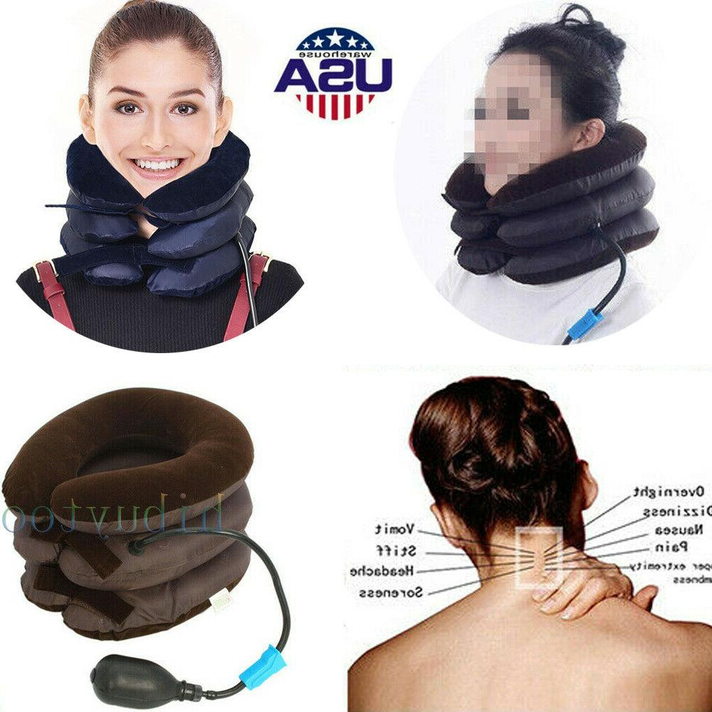 air inflatable neck pillow cervical head traction