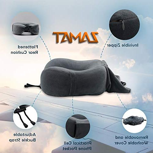 ZAMAT Breathable Memory Foam Pillow, U-Shaped Adjustable Car Pillow, 360-Degree Head Support, Spandex Cover with Mask, Gray