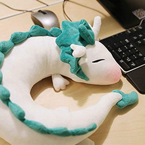 Cute Small White Dragon U-Shaped Neck Pillow,Pausseo Doll Toy Animal Plush Stuffed Student Plaything Durable for