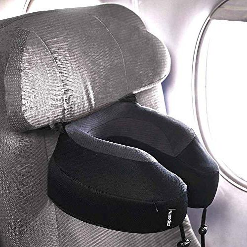 Cabeau Pillow – Straps Airplane Seat Your Head Fall Forward Plush Memory Quick-Dry Fabric Head and Neck Support